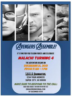 Avengers Personalized Birthday Party Invitation With Photo