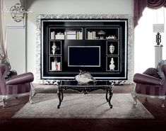 Vogue salon with purple upholsteries and furniture decorated with silver leaf applications - LIVING ROOM - BELLA VITA - Modenese Gastone