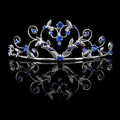 High Heart Sapphire Blue Wedding Bridal Bridesmaid Prom Party Crystal Tiara in Clothing, Shoes & Accessories, Wedding & Formal Occasion, Bridal Accessories Sapphire Blue Weddings, Blue Sapphire, Sapphire Wedding, Bridal Tiara, Wedding Jewelry, Bridal Headpieces, Wedding Tiaras, Wedding Veils, Wedding Hair