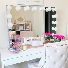 Hollywood Makeup Vanity Mirror with Lights-Impressions Vanity Glow Pro Makeup Vanity Mirror with Dimmer Lights for Tabletop or Wall Mounted Best Vanity Mirror, Make Up Desk Vanity, Mirrored Vanity Table, Makeup Vanity Mirror With Lights, Makeup Table Vanity, Lighted Vanity Mirror, Vanity Mirrors, Vanity Ideas, Makeup Vanities