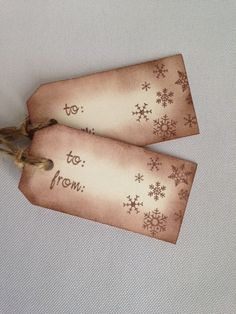 Hand Stamped  Holiday Snowflake Tags- Set of 10 Cream and Brown on Etsy, $7.50