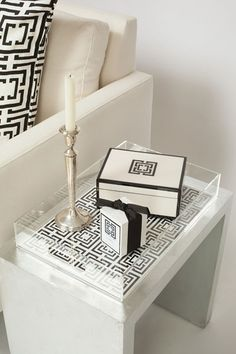 COCOCOZY: Boxes/Trays .. Love the lucite tray with a slot to remove or replace the pattern sheet in the bottom.