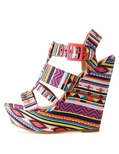 Strappy Tribal Print Wedge Sandals: Charlotte Russe #CRshoecloset #wedges