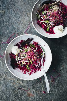 Beet, Apple, Quinoa and Sprout Salad with Goat Cheese and Lemon