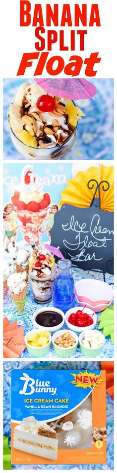You will take a ride on the wild side when you make Vanilla Bean Banana Split Floats. My secret ingredient takes these ice cream floats over the top. My Banana Split Float Bar is perfect for celebrations during the spring and summer. #SoHoppinGood #BlueBunny #Ad @walmart @bluebunnyic
