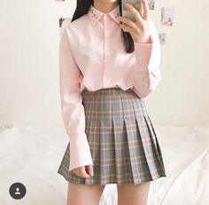 School skirt outfits, korean outfits cute, korean outfits school, k Fashion 90s, Ulzzang Fashion, Korea Fashion, Kawaii Fashion, Cute Fashion, Asian Fashion, Look Fashion, Skirt Fashion, Fashion Outfits
