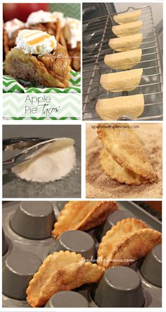 APPLE PIE TACOS: 6 flour tortillas, oil, sugar, cinnamon, 21 oz can . Apple Pie Recipes, Apple Desserts, Easy Desserts, Delicious Desserts, Dessert Recipes, Taco Dessert, Tortilla Dessert, Fried Apple Pies, Mini Apple Pies