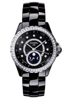 Lds Chanel J12 Moonphase H3407 38mm Black Ceramic Diamond Dial Diamond  Bezel      df9a98d2249f