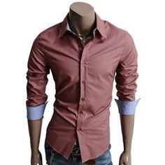 Mens Casual Classic Dress Shirts 14Colors (AA01-DARKPINK)