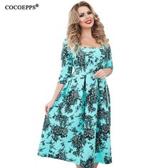 Cheap vestidos plus, Buy Quality dress vestidos directly from China female office dresses Suppliers: New Plus Size Print Dress Spring Summer Women clothing 2018 vintage floral print Big Sizes female office Dress Vestidos Big Size Dress, Plus Size Dresses, Office Dresses, Casual Dresses, Plus Size Womens Clothing, Clothes For Women, Ladies Clothes, Winter Dresses, Buy Dress