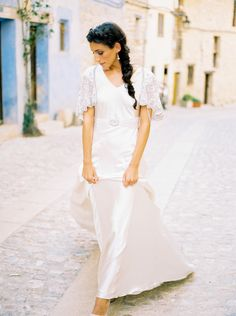 Sofia wedding dress and beaded cape. Beautiful oyster silk satin. Hand beaded belt.