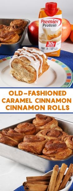 A recipe for Old-Fashioned Caramel Cinnamon Rolls from Premier Protein. Protein Powder Recipes, Protein Shake Recipes, Protein Snacks, Protein Muffins, Pureed Food Recipes, Ww Recipes, Low Carb Recipes, Healthy Recipes, Bariatric Eating