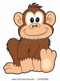 A Happy Cartoon Monkey Smiling On White. Stock Photo 137812982 ...