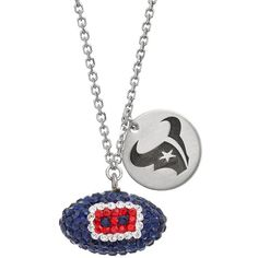 Houston Texans Crystal Sterling Silver Team Logo & Football Charm... ($250) ❤ liked on Polyvore featuring jewelry, necklaces, multicolor, sterling silver charms, tri color necklace, crystal necklace, crystal charms and sterling silver jewelry