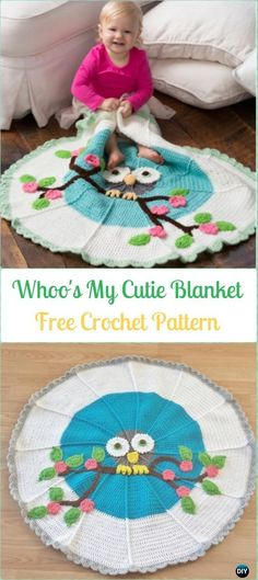 Crochet Whoo's My Cutie Blanket Free Pattern-Crochet Circle Blanket Free Patterns