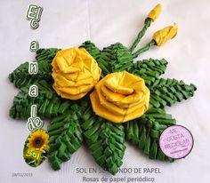 Rosas de papel de periódico