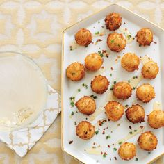 Goat Cheese Poppers with Honey Recipe. Added balsamic to honey drizzle.  Bread crumbs instead of Panko. 5/smallest skillet.