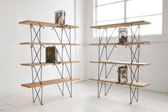 Stunning Shelving Units Design Idea with Four Wooden Shelves Levels and Unique Black Iron Frames and Brilliant Book Holders Idea