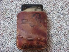 Leather cell phone case crafted from old baseball glove