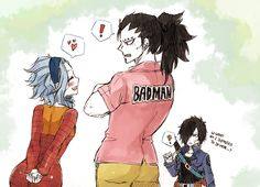 Levy, Gajeel, and Rogue as vegeta and bulma<<< and future trunks