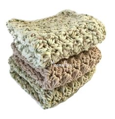 Handmade Dish Cloths Woodland Green Beige Cream Lavender Wash Cloths Crochet Kitchen Dishcloths Eco Friendly Cotton Rustic Set of 3