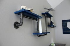 DIY+Shelving+in+this+Modern+Navy+&+Grey+Rustic+Nursery
