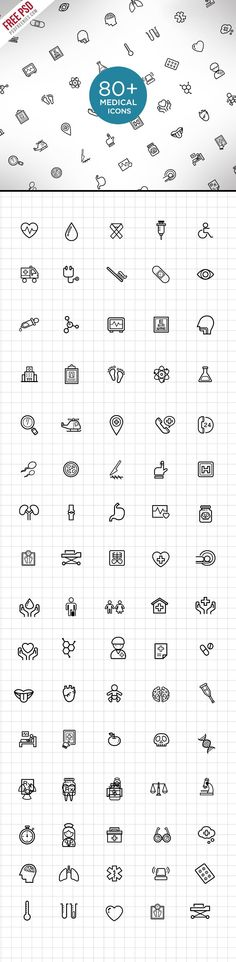 Medical and Science Outline Icon Set by PSDFreebies