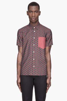 MARC JACOBS Burgundy and grey CY Dot shirt