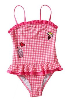 Girls Ruffle Trim Red Plaid Swimsuit
