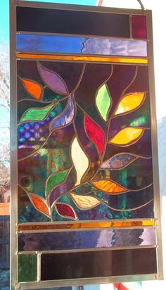 """""""Mardi Gras Leaves"""" stained glass window panel"""