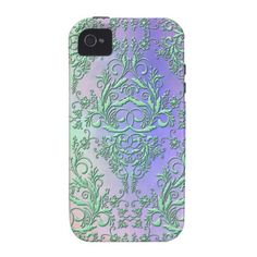 Damask Wildflowers, Party Lights in Green & Purple iPhone 4 Case