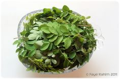 Leaves from the Moringa Oleifera Tree. Very nutritious product. Cooked with boiling water, onions and anchovies and served with white rice.