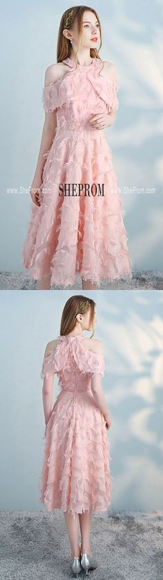 Shop Pink Tea Length Halter Party Dress Aline with Cold Shoulder online. SheProm offers formal, party, casual & more style dresses to fit your special occasions. Homecoming Dresses Under 100, Pink A Line Dress, Pink Party Dresses, Winter Dress Outfits, Midi Dresses, Formal Dresses, Reception Dresses, Prom Dresses, Tea Length
