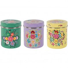 Set of 3 Hand Painted Floral Stainless Steel Canisters
