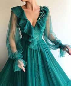 evening dresses Details - Sacramento green color dress - Tulle fabric with dots - Handmade flowery details - A-line dress with long sleeves - Party and Evening dress Elegant Dresses, Pretty Dresses, Beautiful Dresses, Amazing Dresses, Evening Dresses With Sleeves, Evening Gowns, Green Evening Dress, Green Gown, Tulle Dress