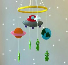 SALE 20% hanging crib mobile-alien crib mobile-space by ZooToys