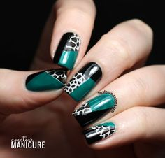 Teal black and white
