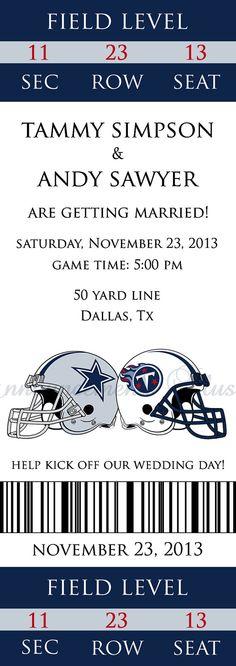Football Wedding Ticket Invitations Sports Theme Invitation Tickets And Rsvp Set The O Pinterest