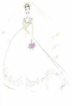 Wedding dress sketch for Savannah Guthrie | Lazaro | brides.com