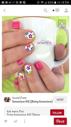 beautiful, bright, cheery and fun nail art design is perfect for any summer or spring manicure. Full tutorial and video on how to create this look is found at Summer Glimpse Flower Nail Designs, Best Nail Art Designs, Flower Nail Art, Gel Nail Designs, Nails Design, Art Flowers, Summer Nail Designs, Flower Toe Nails, Daisy Nail Art