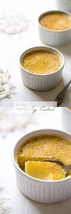 Light Eggnog Egg Custard - Easy desserts that are SO creamy and perfect for Christmas! You would never know they're healthy and glutenfree! | Foodfaithfitness.com | #recipe