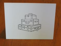 Like the idea of it being stamped on.  (suitcase travel greeting card - handmade stationary)