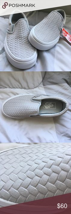 Brand New Vans Slip on Sneakers NWT Vans slip on gray sneakers! They have a cute woven pattern. Size 6 Vans Shoes Sneakers