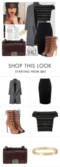 """""""Kylie Jenner Inspired Outfit"""" by fashion-sense-xo ❤ liked on Polyvore featuring Miss Selfridge, Alexander McQueen, Francesco Russo, Chanel, Cartier, WALL, StreetStyle, celebrity, KylieJenner and Kylie"""