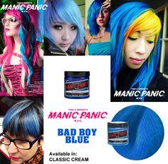¿Te gustan los tonos azules? ¿Quieres que tu pelo luzca con un tono azul cielo radiante? Tu color es el Bad Boy Blue. Disponible en versión Amplified y versión Classic. Disponible en www.manicpanic.com.es