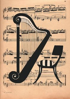 Musical Harp, chair on a musical page, song creator. Decoupage Vintage, Vintage Decor, Vintage Room, Vintage Style, Vintage Labels, Vintage Posters, Baroque Painting, Music Page, Music Painting