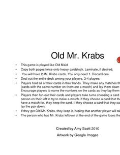 A math game featuring Spongebob and Mr. Krabs. This game is played like Old Maid. A very motivating game!...