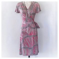 Faux Wrap Dress Faux wrap red,black and white dress w/ tie belt. 96% polyester, 4% spandex. Great condition 212 Collection  Dresses Midi