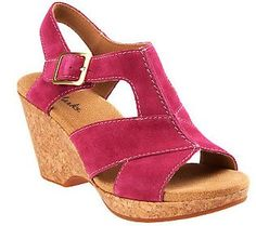 Clarks Liz Park Cork Wedges w/ Adj. Buckle $64.92