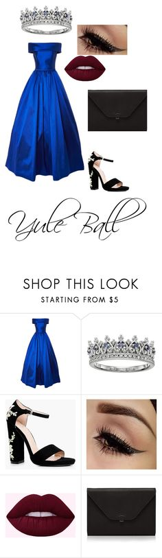 """Yule Ball"" by mackenzie-milkduds ❤ liked on Polyvore featuring Boohoo, Valextra and ravenclaw"